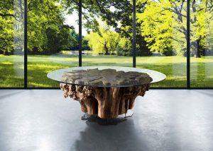 V - Root è un tavolo unico degli arredi artigianali su misura di Vener, Tailor made art.